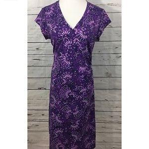 ATHLETA Purple Floral Faux Wrap Nectar 2 Dress-M